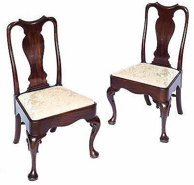 Superb Pair of 18th Century George II Queen Anne Mahogany Chairskjf