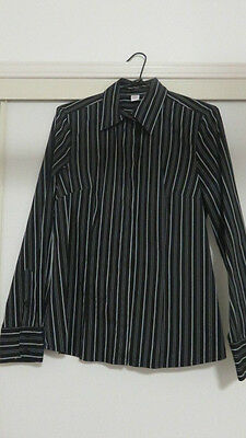 Ladies Design Table Eight Size 10 black with silver long sleeve blouse