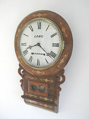 Excellent American 8 Day Bell Strike Wall Clock In Vgc With Superb Inlay +