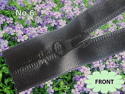 LONG Black Waterproof Zip/ Closed End/ No.6 Lengths (From 90cm to 200cm)