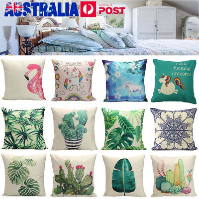 Cactus Plant Unicorn Cotton Linen Pillow Case Cushion Cover Throw Home Decor AU