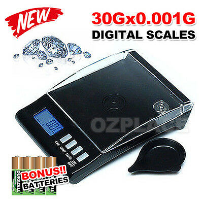 0.001g 30g Digital High Precision Pocket Jewellery Scale Electronic Milligram AU