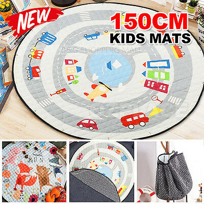 Portable Kids Baby Gym Play Mats Floor Rug Blanket Soft Cotton Toys Storage Bag