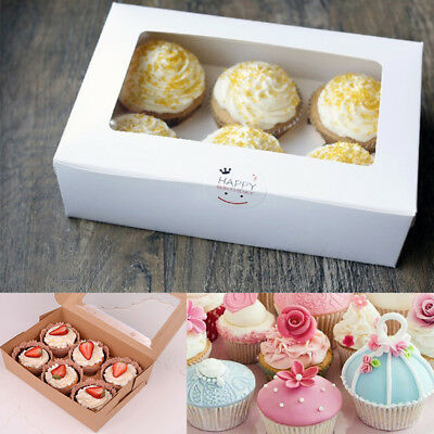 1/10pcs Foldable Cupcake Cookies Fairy Cake Muffin Boxes Clear Window Display