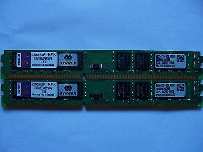 KINGSTON 16GB (2X 8GB) DDR3 1333 PC3-10600 KVR1333D3N9/8G Desktop Low Profile