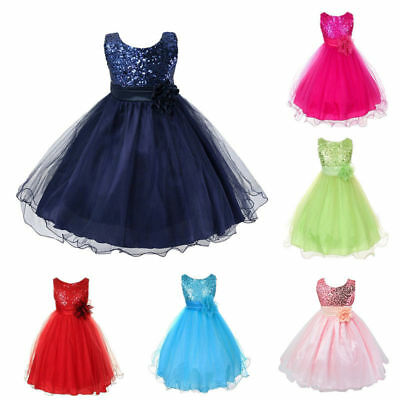 Flower Girl Princess Pageant Wedding Party Formal Birthday Kids Tulle Dress 2-8Y