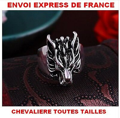 Bague Chevaliere Tete De Loup Garou Acier Massif 316L Biker Game Of Throne Stark