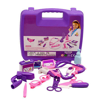 Kid Child Purple Pretend Doctor Nurse Medical Carry Kit Play Role Toy Cute Set