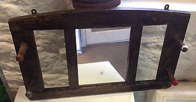 Retro Oak Hall Foxed Mirror & Coat/hat Pegs - Wall Mount Fab For Small Space