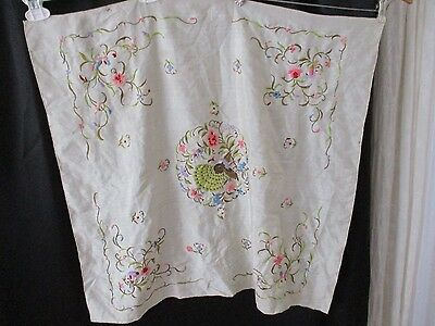 Vintage scarf Embroidery Asian off white flaw square over sized