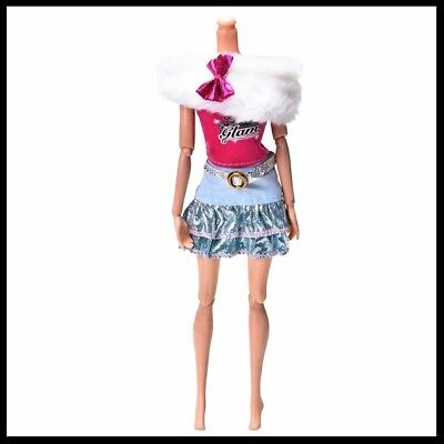 Barbie Doll Clothes - 3 Piece Set - Skirt, Top and White Fur Wrap.