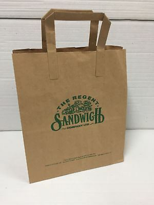 "100 x Brown Kraft Paper Misprinted Takeaway Carrier Bags 10"" x 11.75"" x 5.5"""