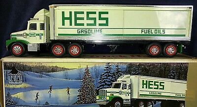 Vintage Hess Gasoline Toy Truck+Trailer Semi Money Bank 1987 Boxed