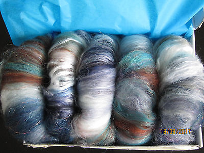 100g ( 5 Mini- Batts, Rollags,Spindle-Cakes Kammzug, Spinnwolle,Märchenwolle
