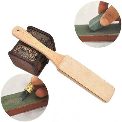 11inch Wood Handle Leather Sharpening Strop Two Sided For Razors Knives Polish