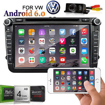 """8"""" Android 6.0 Double 2Din Car DVD Stereo For VW GPS Navi Stereo Wifi 3G Radio"""