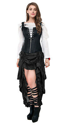 Steampunk Victorian Gothic Lace Ruffles Halloween Party High Low Long Skirt