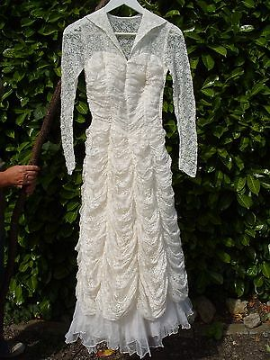 Antique Vintage Lace Wedding Dress Gown Costume Vintage Clothing