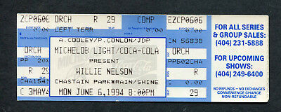 1994 Willie Nelson unused full concert ticket Chastain Atlanta GA Country Music
