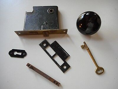 Lot Of Misc. Vtg. Antique Door Lock/knob/key Parts