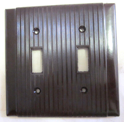 Vintage brown Bakelite Uniline Bryant Art Deco 2 gang plate switch cover ribbed