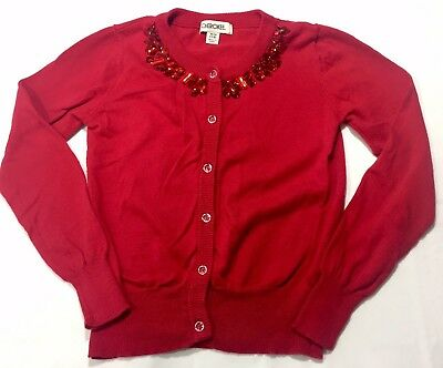 Cherokee Girls Red Jeweled Cardigan Sweater Size: Youth M 7/8 (A84)