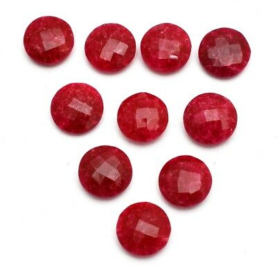 10 Pcs Lot of Faceted Dyed Ruby Round Shape 12mm Approx Loose Gemstones