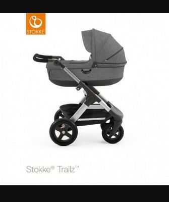 New Stokke Trailz 2in1 Travel System Pram Car Seat Black Melange