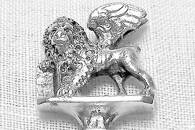 Italian figural demitasse spoon with cast winged lion finial in 800 silver