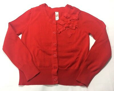 Cherokee Girls Red Bow Cardigan Sweater Size: Youth S 6/6x (A81)