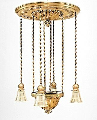 American Art Deco Silverplate Bronze Chandelier