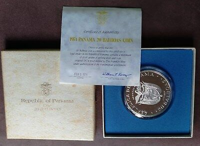 1974 Panama 20 Balboa Silver Proof in box with COA