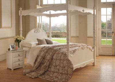 Revival Beds Orleans 4 poster King Size bed in Ivory/White