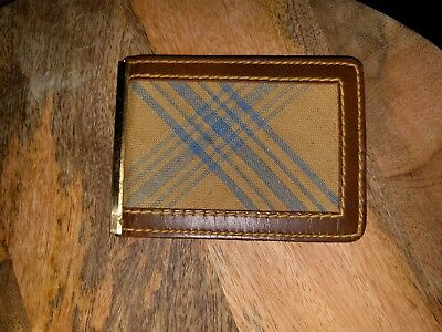 mens vintage CANTERBURY plaid & leather bifold wallet