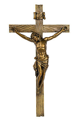 Wood Inspired Bronze Wall Cross Crucifix Jesus Christ 62153