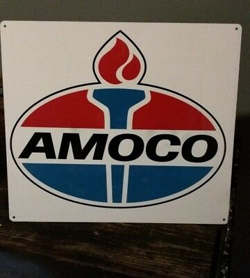 Amoco Gas Sign Truck Mechanic Garage Repair Shop Red White 12 x 12