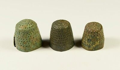 Ancient Bronze Thimble Ring - Well Preserved - Lot Of 3