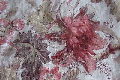 STUNNING HANDMADE ANTIQUE FRENCH INDIENNE PRINT LARGE SACK/CUSHION 19thC ROSES