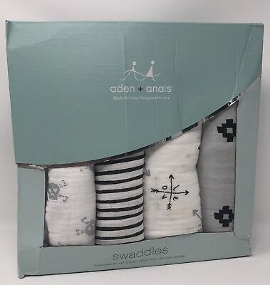 (4) Aden + Anais Swaddle 100% Cotton Muslin Blankets 47x47 Lovestruck