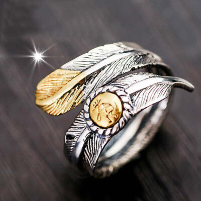 Couple Native Pawn Indian Jewelry Navajo Signed Feather Open Band Ring Optimal