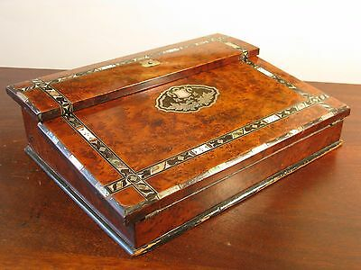 Antique Victorian English Stationary Cabinet Writing Slope Walnut Abalone Silver