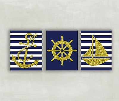 Nursery Prints Nautical Baby Wall Decor Sailboat Kids Room Pictures Boy Girl 5x7