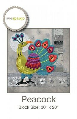 PEACOCK BLOCK HAND EMBROIDERY PATTERN, From Sue Spargo Folk-Art Quilts,*NEW*
