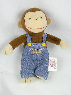 """Curious George Gund Stuffed Monkey Toy Blue Overalls 5.5"""" Collectible"""