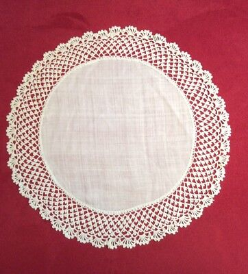 """Great 10 1/2"""" Antique White Linen & Handmade Lace Round Doily"""