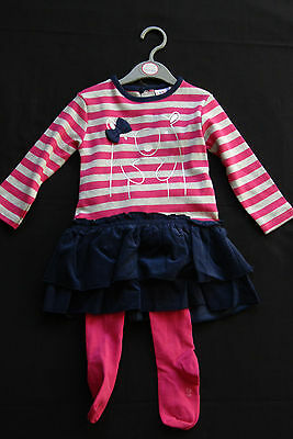 Baby Girls 2 Piece Set Dress And Tights Age 12-18 Mth New With Tags