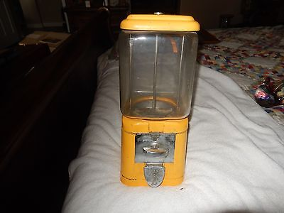 Vintage Yellow  Acorn 1 Cent Glass Gumball Vending Machine Oak NO KEY