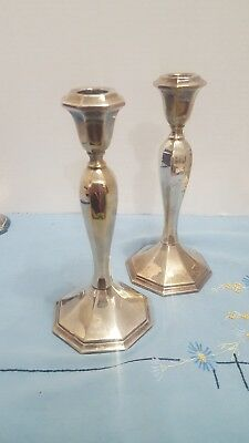 """Pair of  Vintage Wallace 5010 Silverplate 8 1/2""""Candlesticks Baroque"""