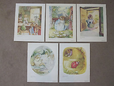 Beatrix Potter Set 5 Nursery Baby Wall Prints Art Mouse Kitten Peter Frog Dog