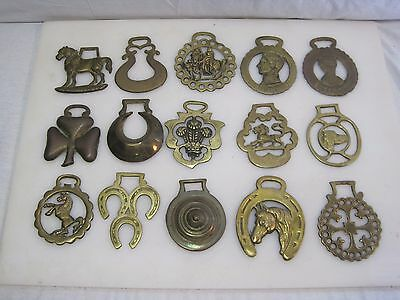 (15) Vintage English Brass Horse Tack Saddle Bridle Harness Medallions B6077